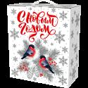 Новогодняя упаковка Снегири серебро 2400 гр