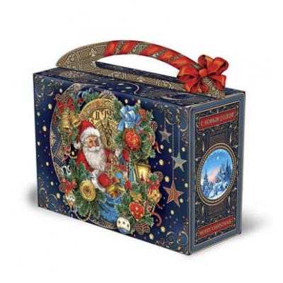 Новогодняя упаковка чемоданчик Старинные часы 1200 гр